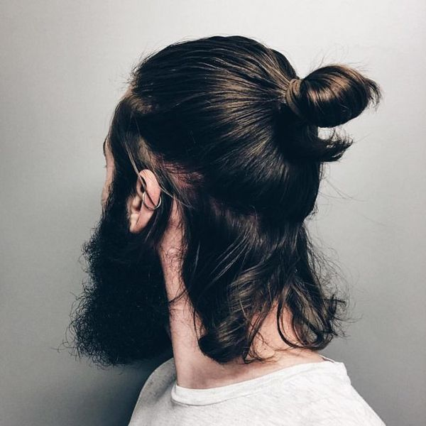 Half man bun hairstyle 4
