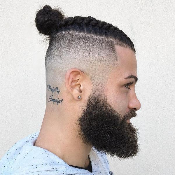 Hipster man bun and beard 3