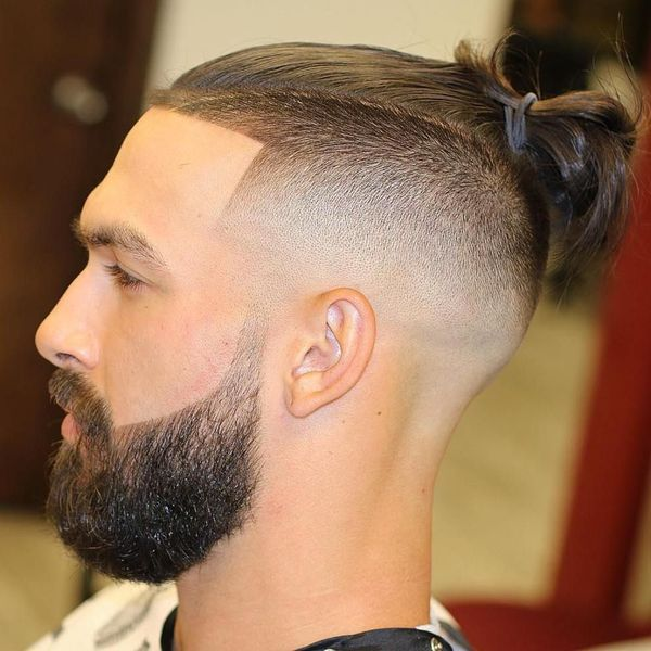 Small man bun with shaved sides 3