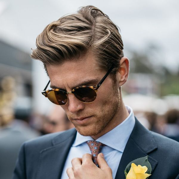 Side part in haircut with long top 1