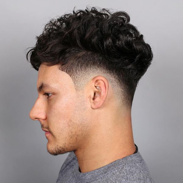 Mens Mid Fade Haircut For Curly Hair 1