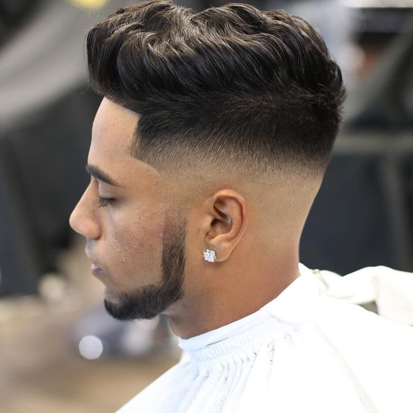 Stylish Mid Skin Fade with Pompadour 1