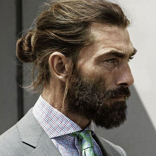 Hipster guy look: Man bun, Ponytail, Top knot 4