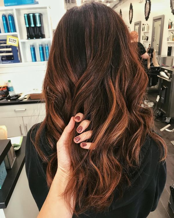 Brunette with Auburn Balayage 1