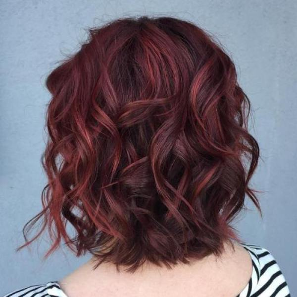 Dark Brown Curly Hair With Burgundy Highlights Short Curly Hair