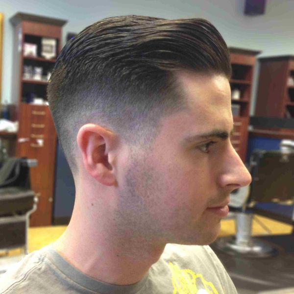 Classic taper fade with long hair on top 1
