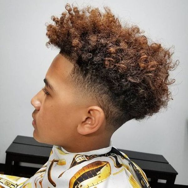 Cool taper fade with curly top 5