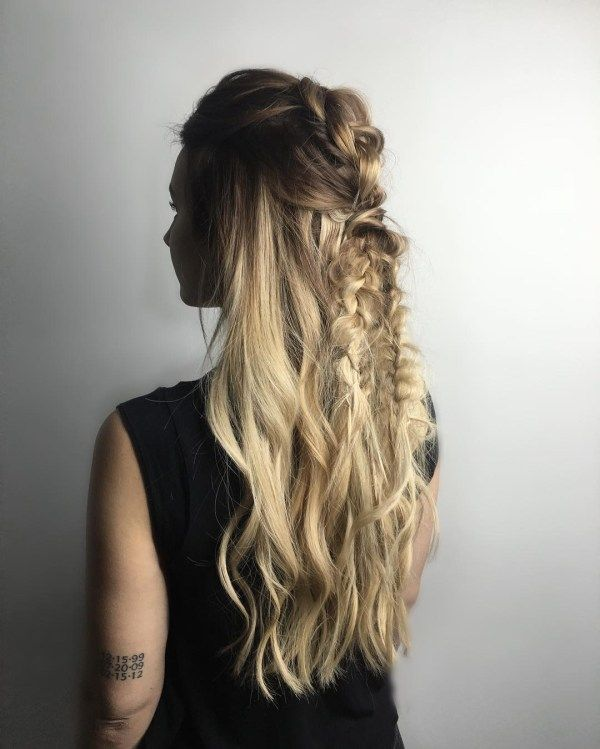 Loose braid hairstyles for very long hair 4