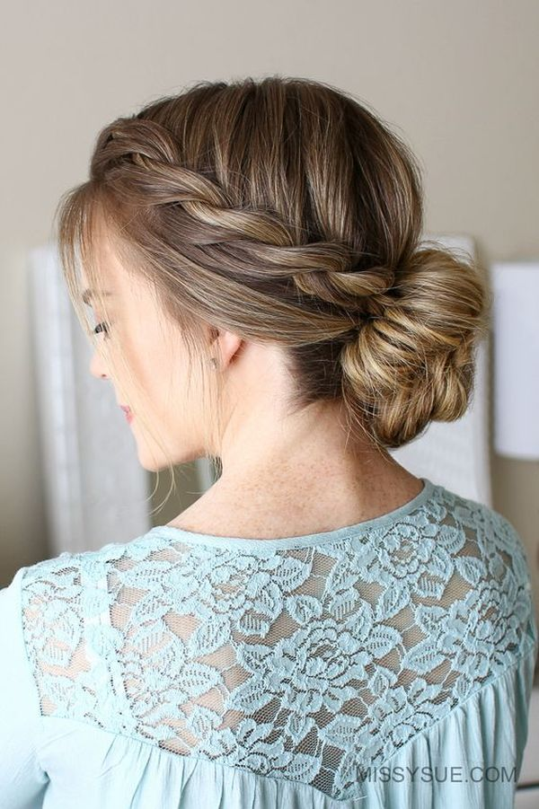 Pretty low bun updos for prom 2