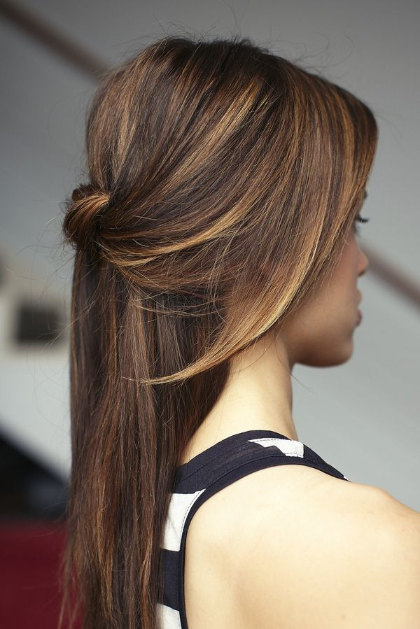 Half up half down hairstyles for long straight hair 3