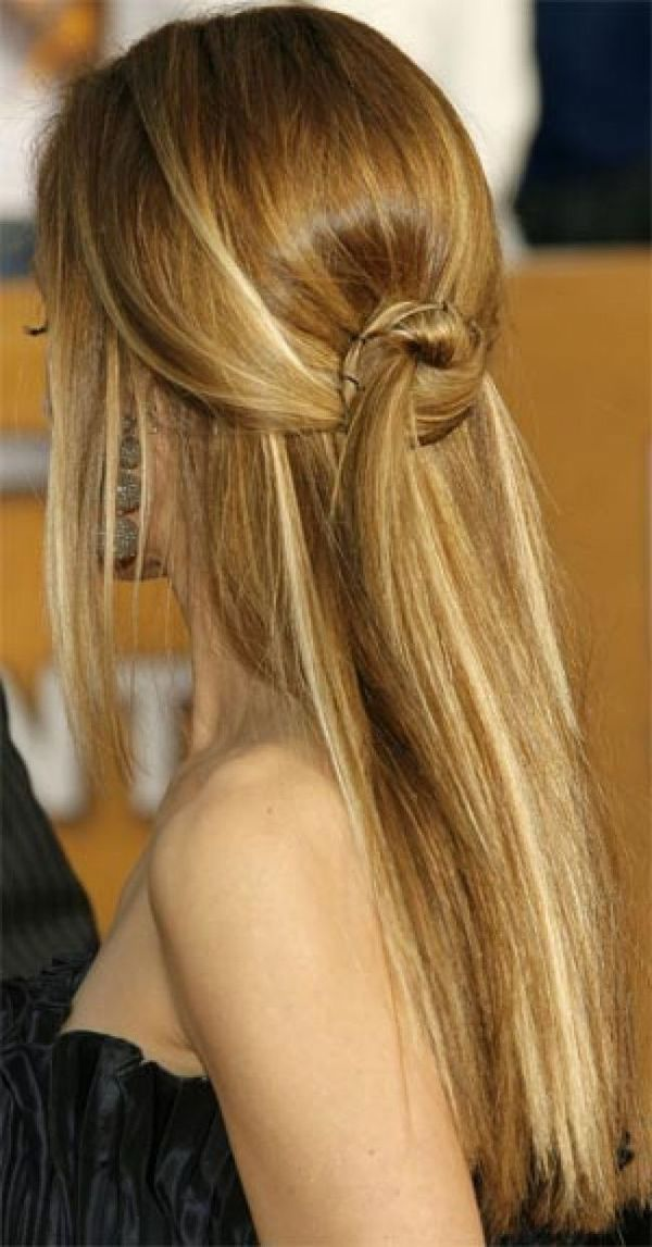 Half up half down hairstyles for long straight hair 4