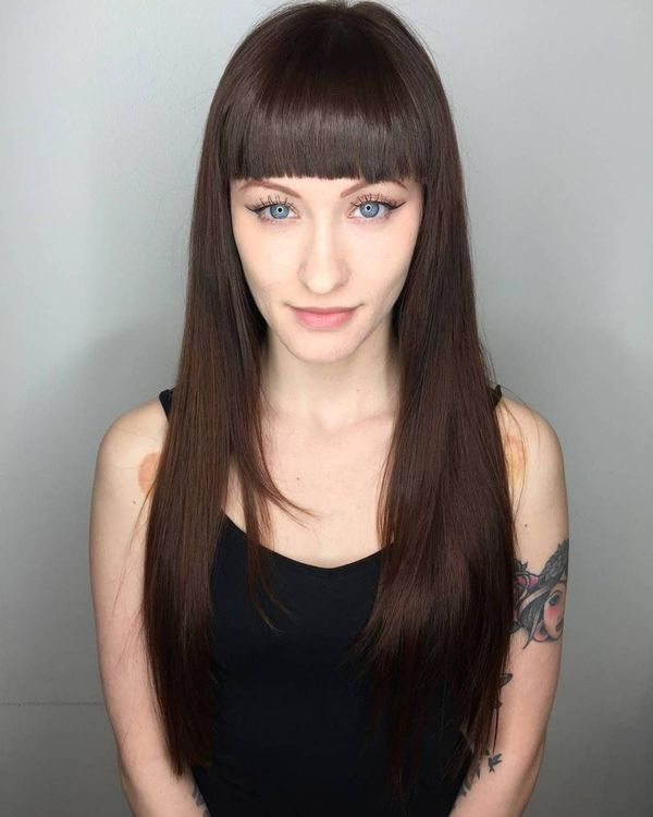 Ideas for long straight hair with bangs 2