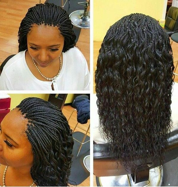 Wet and wavy micro braids with curly tips 2