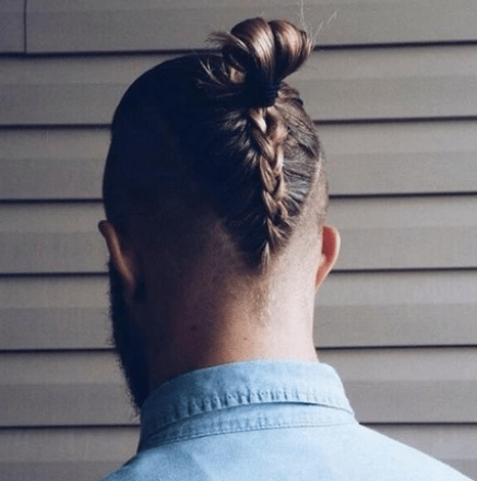 Braided Man Bun with Shaved Sides
