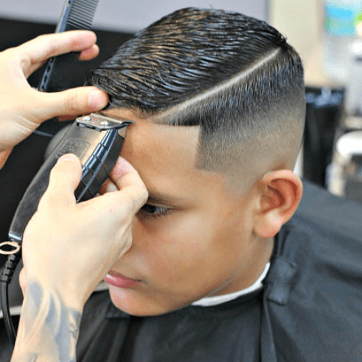 High Skin Fade + Line Up + Hard Side Part