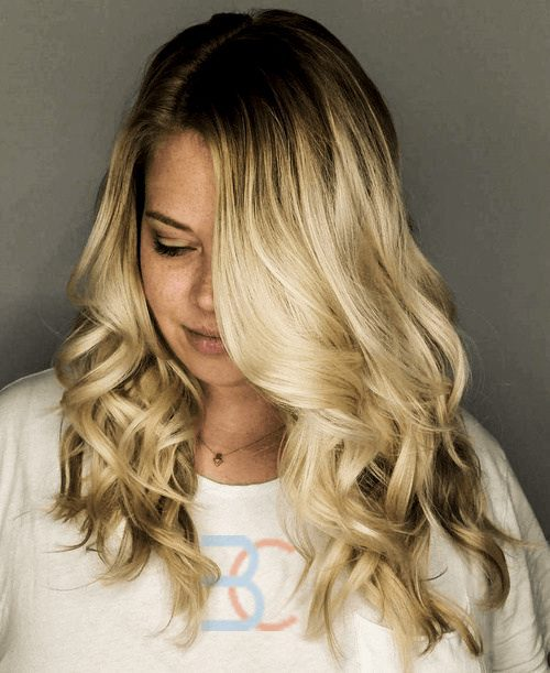 Curly Blonde with a Side Part-Round Face Long Hairstyles Female-female hairstyles #womenhair #womenhairstyles