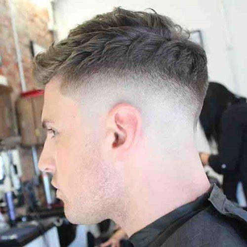 Bald Fade With Side Swept Fringe