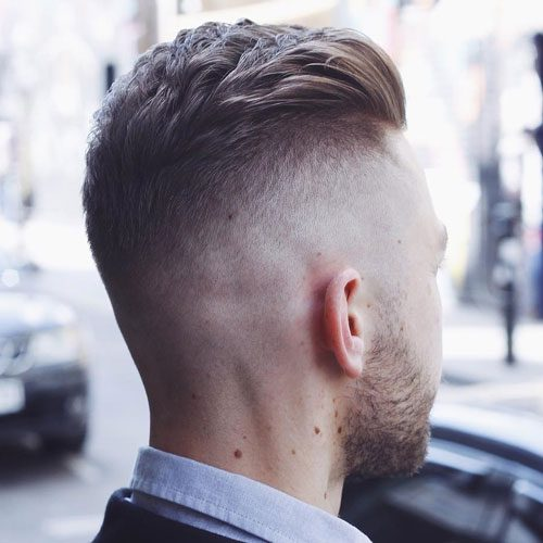 High Undercut Fade With Textured Brush Back