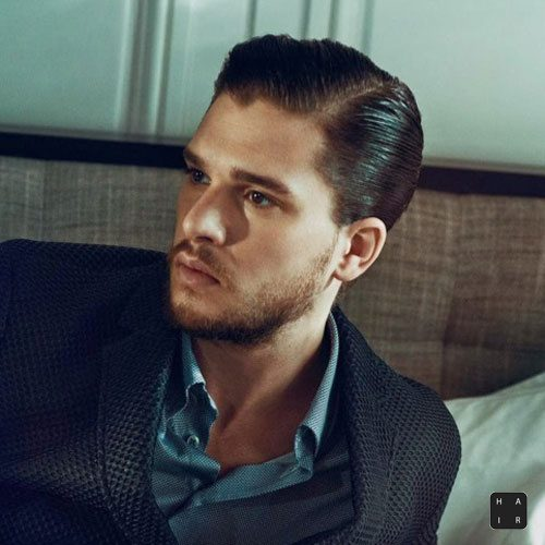 Kit Harington Haircut-Hard Side Part Slicked Back Sides-mens hairstyles