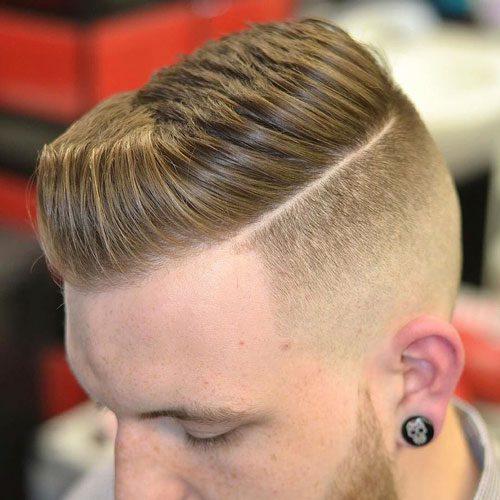 High Fade + Line in Hair + Thick Spiky Hair