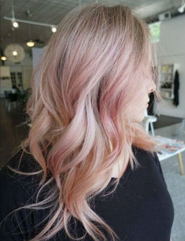 Pink Hair Color-Mid Length Layered Hair for Girls-Mid Length Layered Hair for women