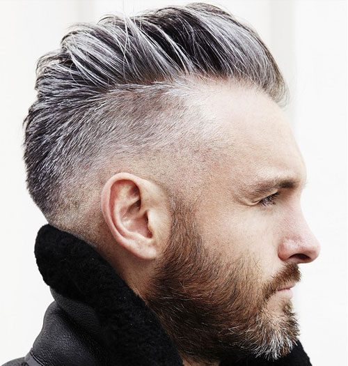 Low Drop Fade + Comb Over + Full Beard
