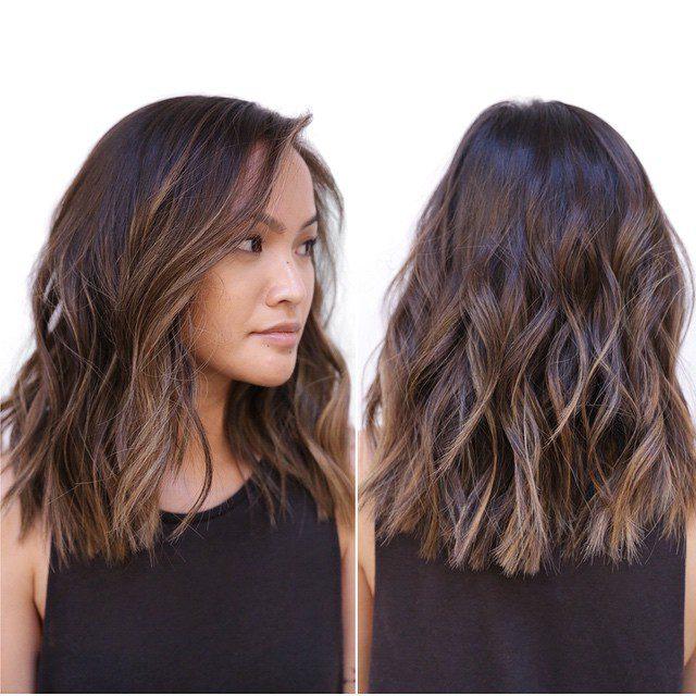 Medium Wavy Hair Styles- Brunette & beige medium wavy hair styles