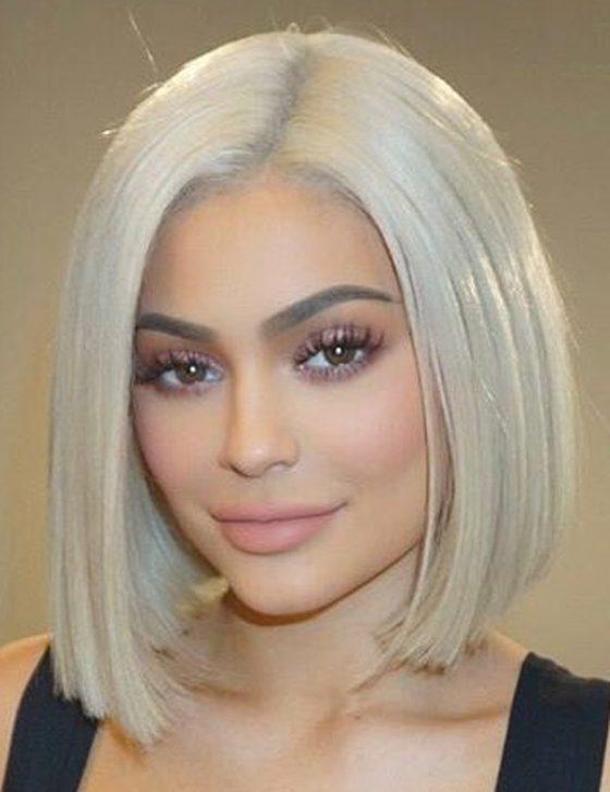 Kylie Jenner Hairstyles-Platinum Blonde Bob-women's hairstyles
