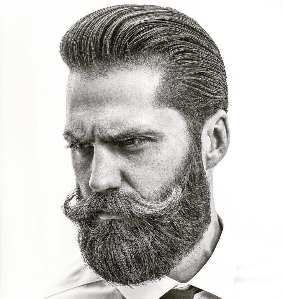 Cool Beard Styles-full beard styles-high beard styles-Full Beard with Long Mustache