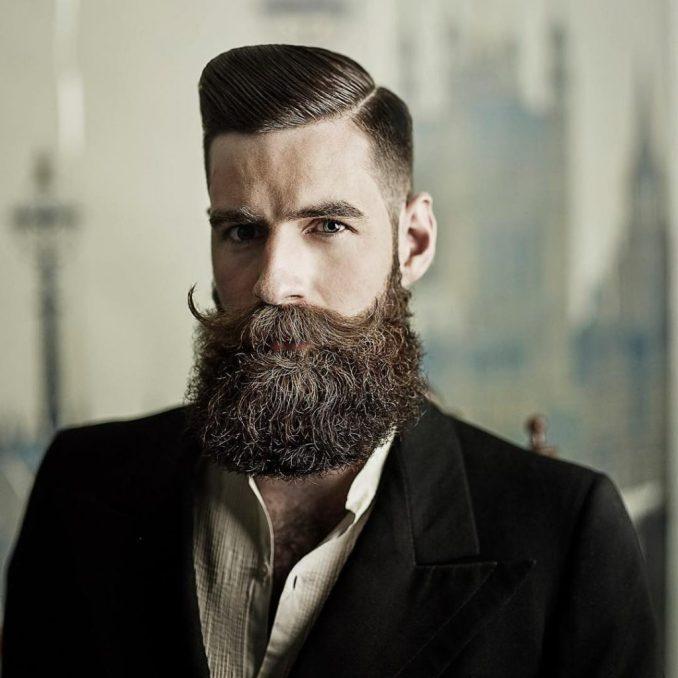 Cool Beard Styles-full beard styles-high beard styles-Full Beard with Handlebar Mustache