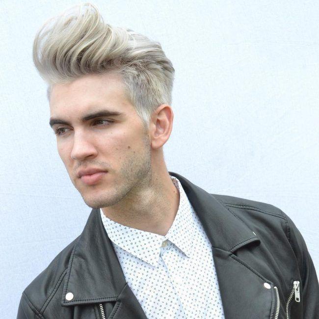 High Fade Platinum Blonde Pomp with Quiff-Platinum Waves for men-hair colors for men 2020-Platinum waves hairstyles 2020