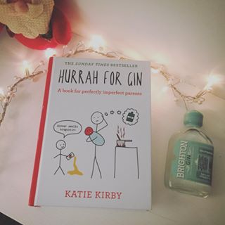 Hurrah for gin book with small bottle of gin and fairy lights