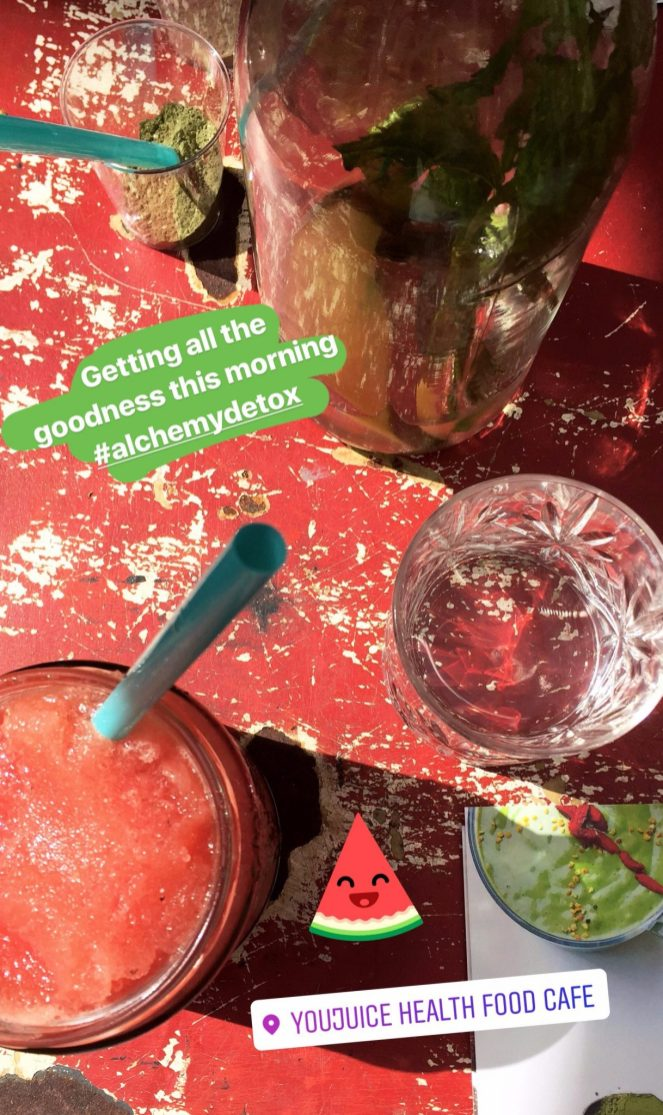 watermelon smoothie on red table