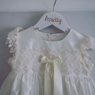 white satin and lace christening gown