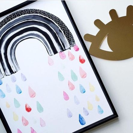 black and white rainbow print with coloured raindrops
