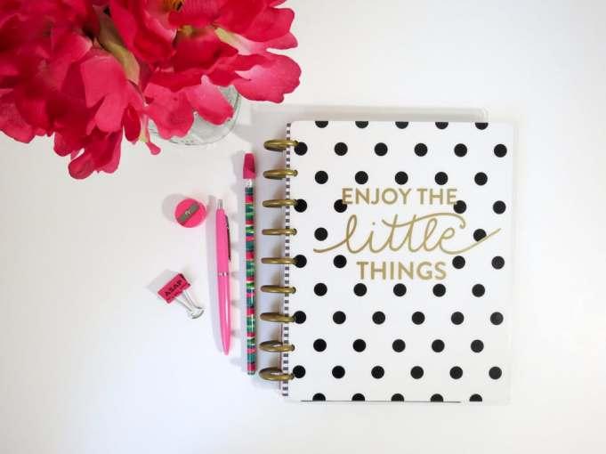 Black and white polka dot notebook