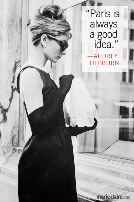 image of audrey hepburn with words Paris is always a good idea