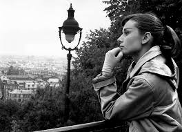 audrey hepburn in paris black and white
