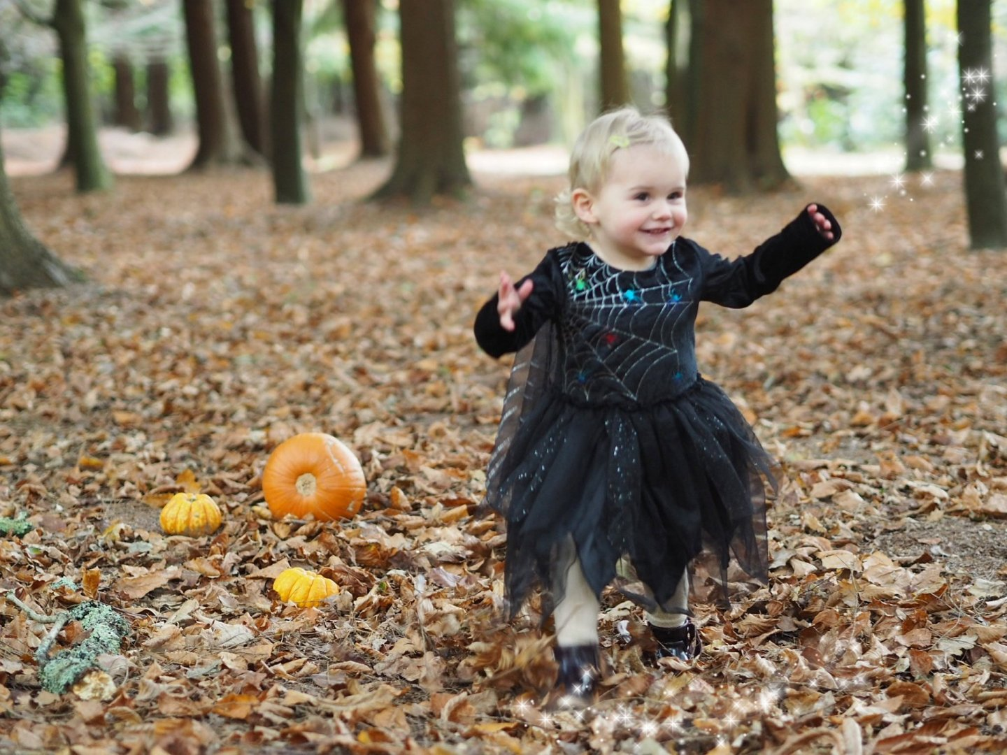 little girl in witches outfit smiling in forest next to pumpkins