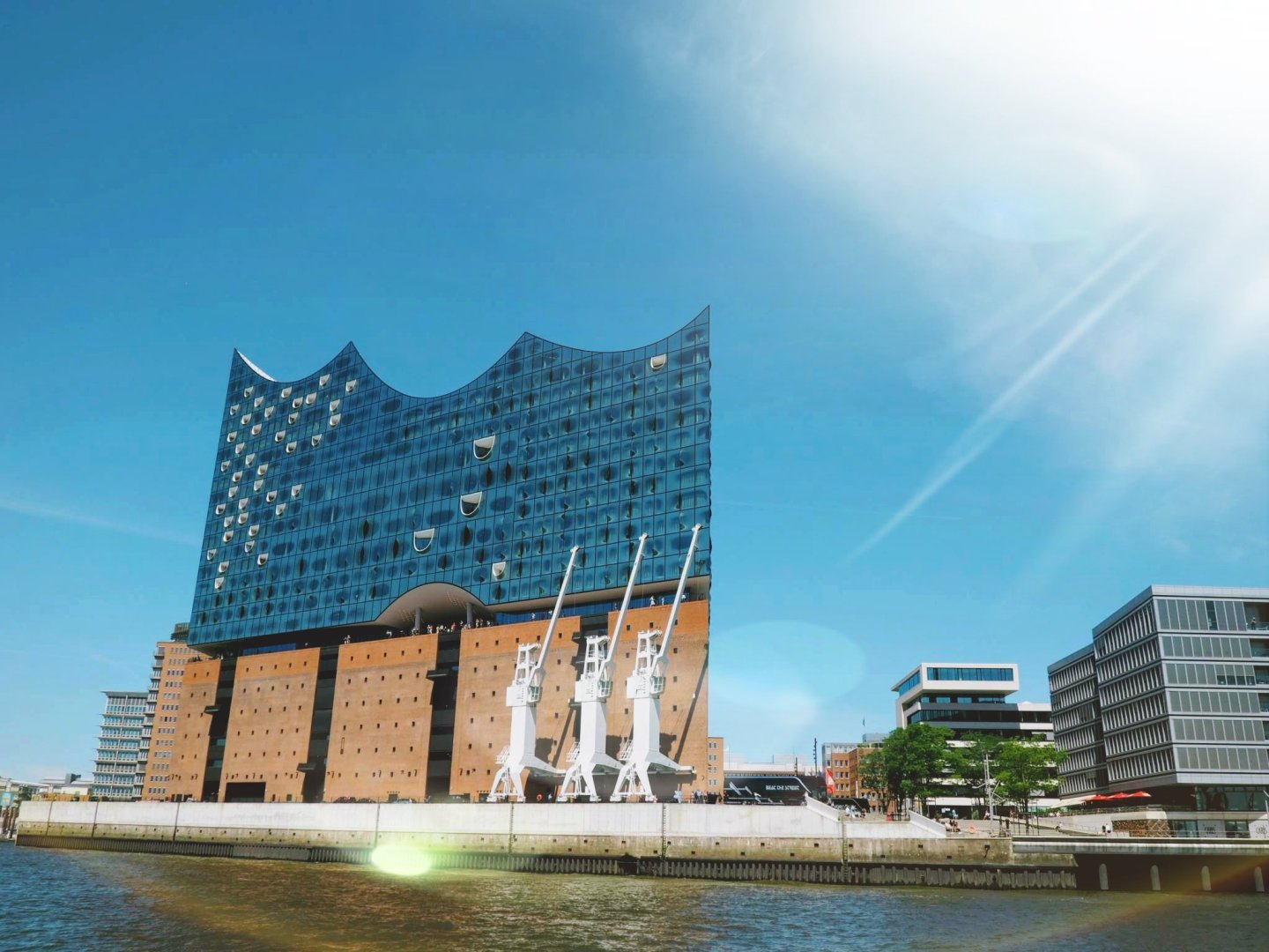 The Elbharmonie building from a boat Hamburg with a Toddler | Ettie and Me