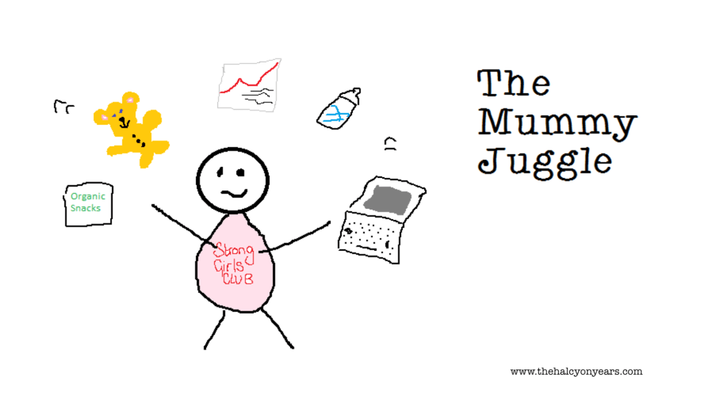 The Mummy Juggle Guest Post series for Mums to chat about how they juggle the day to day tasks of life, work and parenting (featuring stick woman juggling work and baby objects