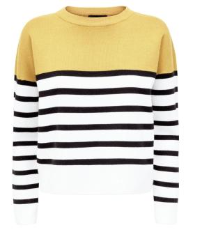 Yellow Stripe Block Colour Jumper