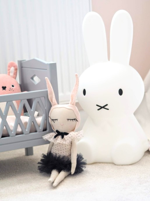 Big white Miffy Rabbit with smaller handmade rabbit in front | A modern pink girls room with a scandinavian twist | The Halcyon Years