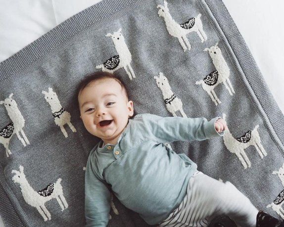 3 month old baby boy laughing on Nuby blanket | The Halcyon Years
