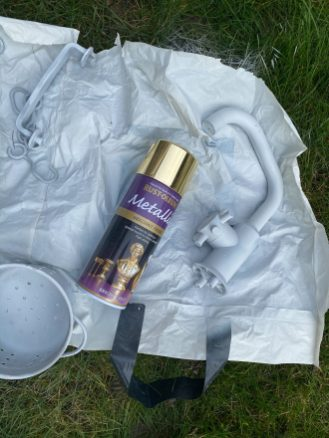 Gold spray paint with plastic tap from Ikea Duktig play kitchen