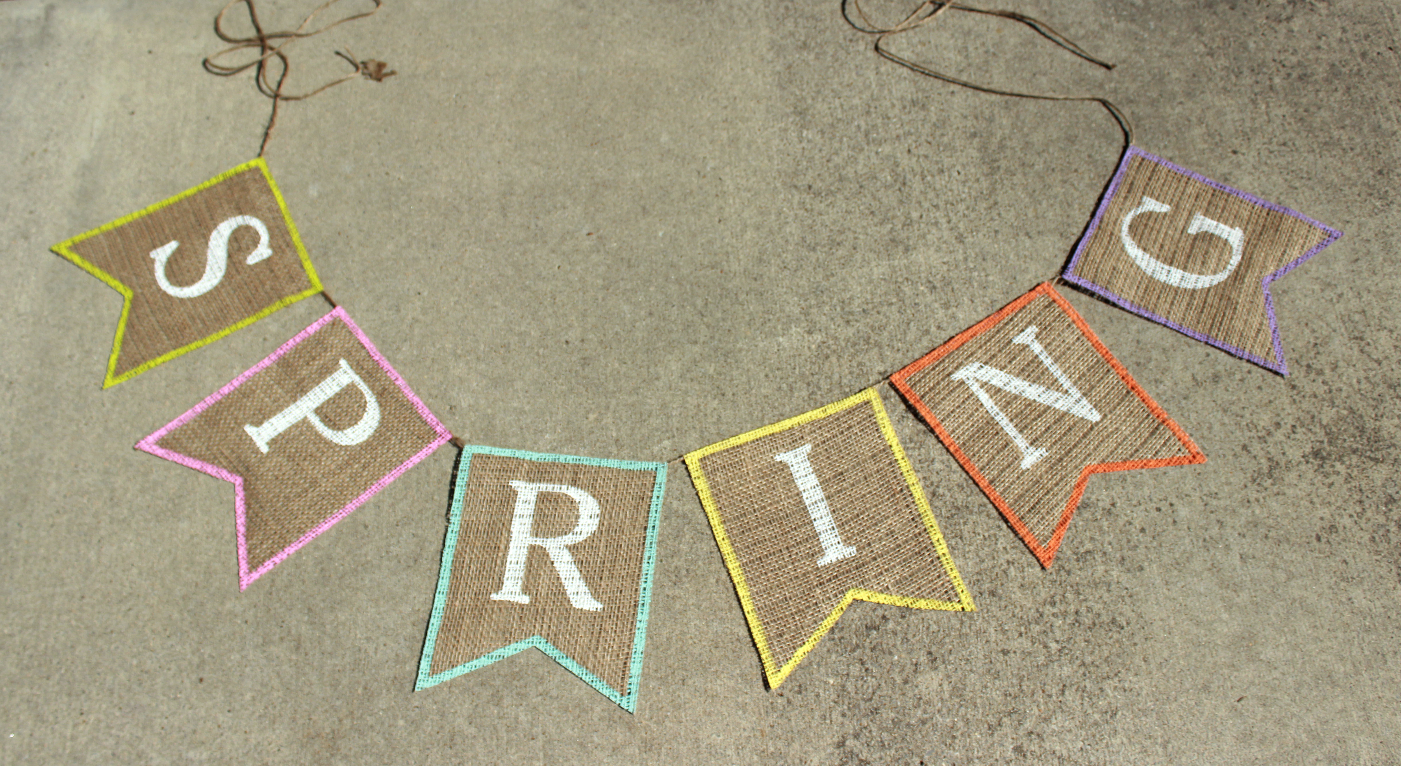 diy spring burlap banner with free banner template the hamby home. Black Bedroom Furniture Sets. Home Design Ideas
