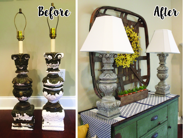 Plaster Lamp Makeover Before and After