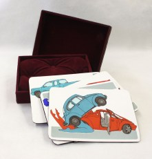 "Raluca Iancu, Cruising For Action, Handmade box with screen prints, Box: 6.25""x 8.25""x 2"", Cards: 6""x 8"" http://ralu.ca"