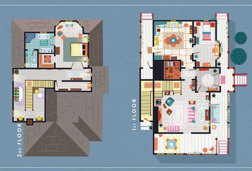 Así se ven los planos arquitectónicos de los departamentos más famosos de las series - gilmore-girls