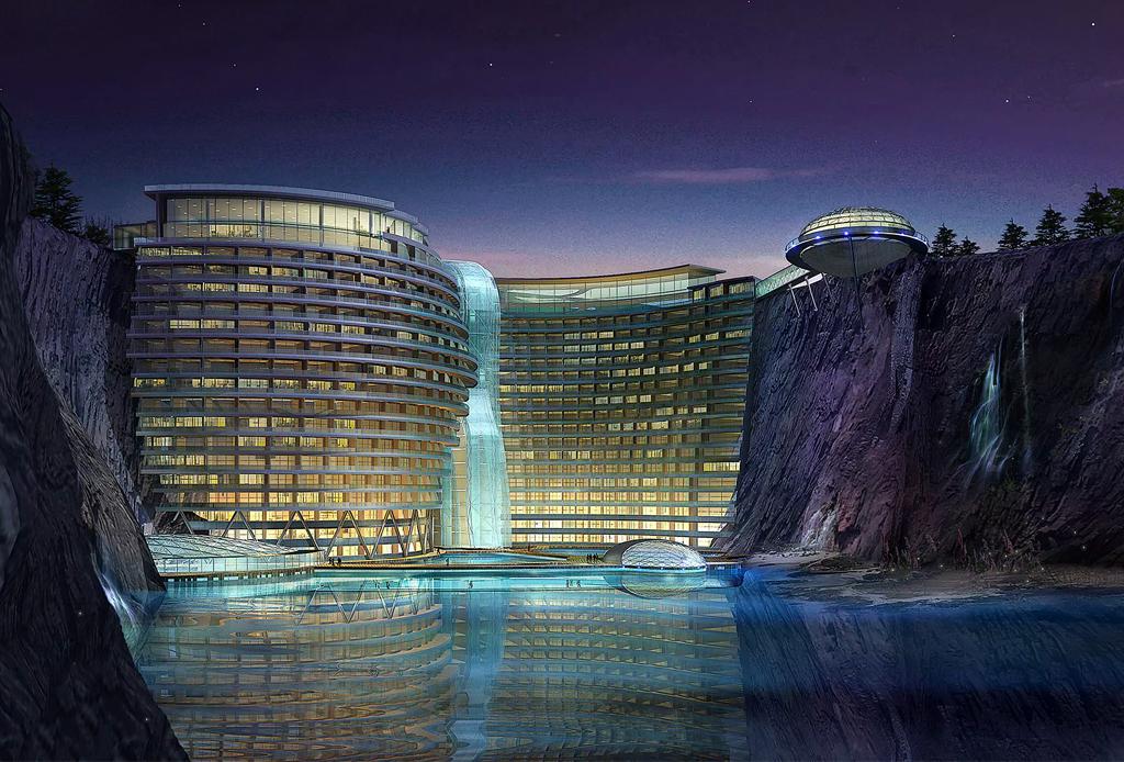 Una cantera abandonada fue transformada en un increíble hotel en Shanghái